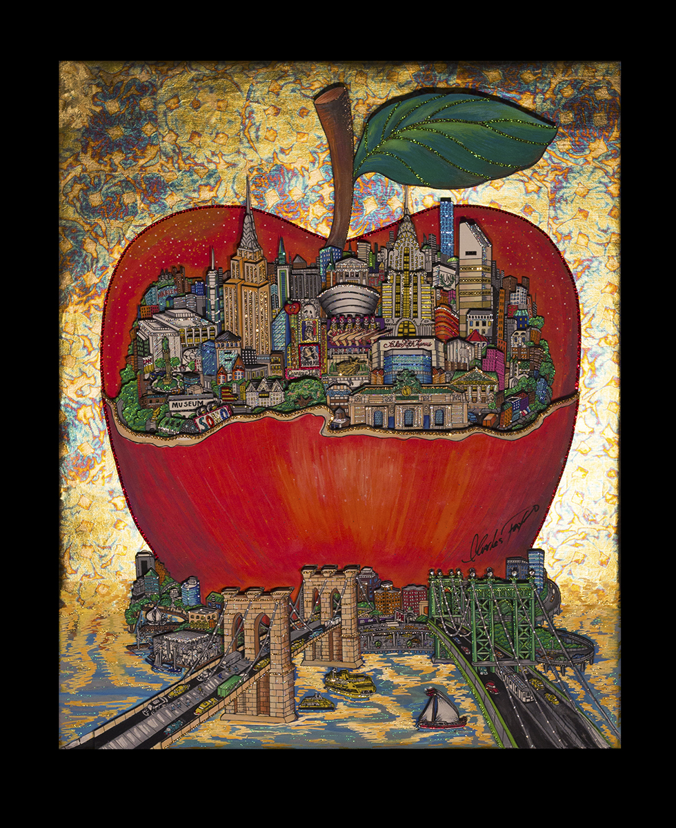 """Apple de Klimt"" by 3d pop artist Charles Fazzino"