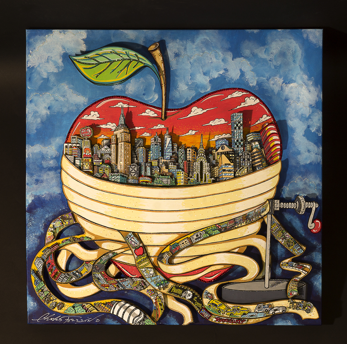 """Peeling the Big Apple"" by 3d pop artist Charles Fazzino"