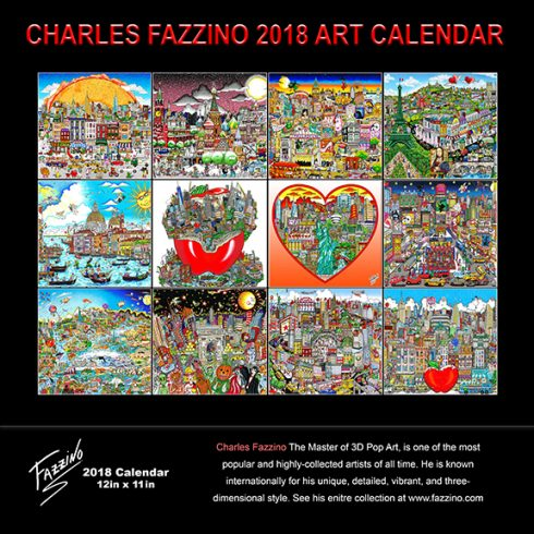 Back of 2018 Charles Fazzino wall calendar - 12 months of full color fazzino pop art pieces