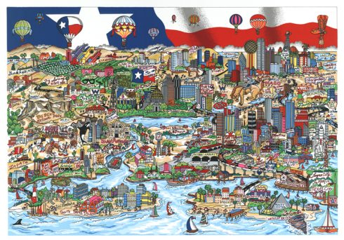"""Texas We Got It Y'all"" by Charles Fazzino - Hurricane Harvey Relief Fund"