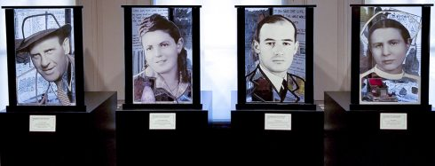 Four large prints of heroes from the Holocaust at the Holocaust Memorial & Tolerance Center of Nassau County