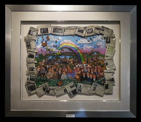 3D Pop art print of a large group of individuals with a rainbow casting down on them surrounded by news paper articles from the Holocaust