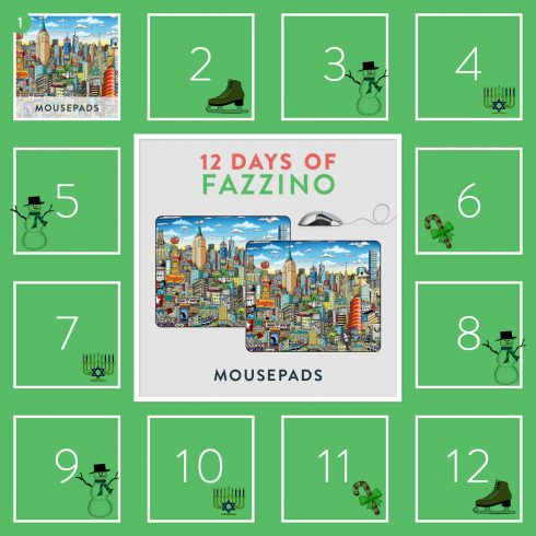 First day of Fazzino- NYC Mousepad - 12 days of Fazzino trivia giveaway calendar card