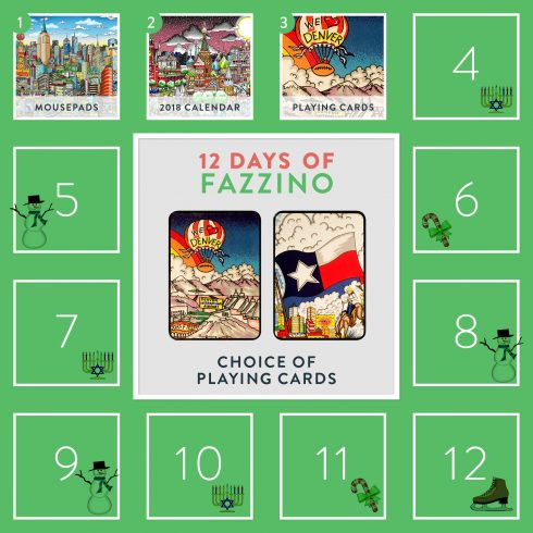 Choice of playing cards- Denver or Dallas - 3rd day of Fazzino giveway