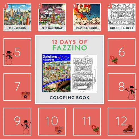 12 Days of Fazzino calendar card - Coloring book giveaway
