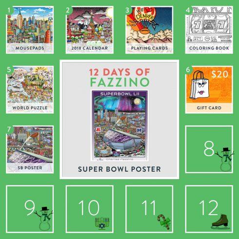 12 Days of Fazzino Calendar Card - Super bowl poster giveaway