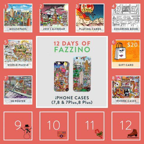 12 Days of Fazzino calendar card - iphone cases