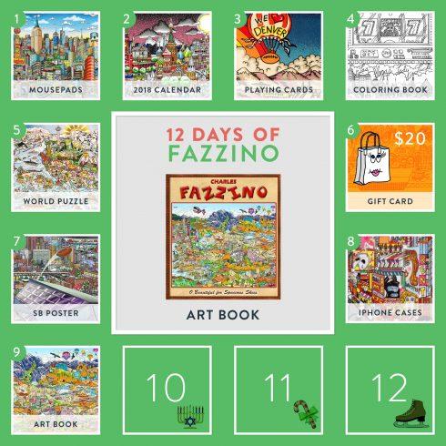 12 Days of Fazzino calendar card - Fazzino 3d pop art book giveaway