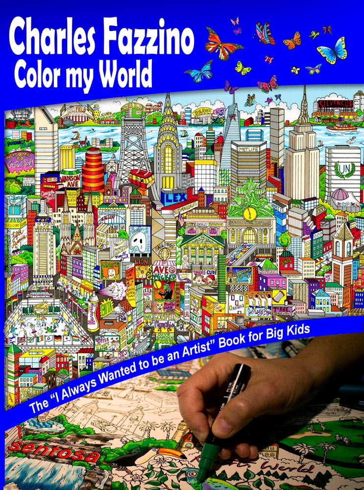 Color my world adult coloring book by Charles Fazzino