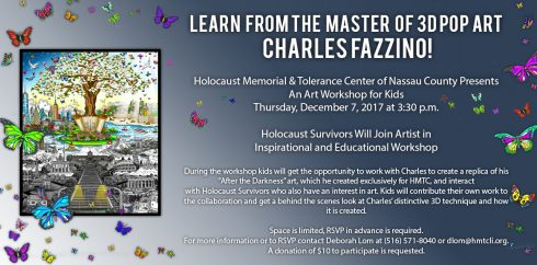 HTMC flyer for an art workshop for kids with 3D Pop Artist, Charles Fazzino.