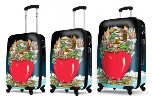 """""""Apple-y In the Center of it All….at Night"""" carry-on luggage by Charles Fazzino"""