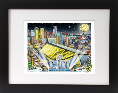Super Bowl 52 framed mini art print featuring the Minneapolis stadium, the Heisman trophy and the moon