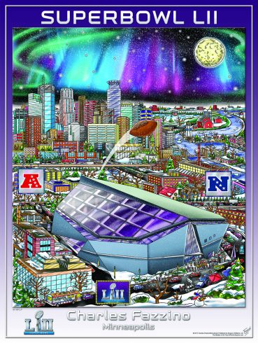 Fazzino Super Bowl LII limited edition poster showing the stadium in Minneapolis with a football flying through the air and the moon