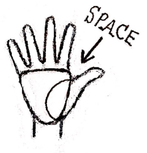 How to draw fingers on a hand with the palm up