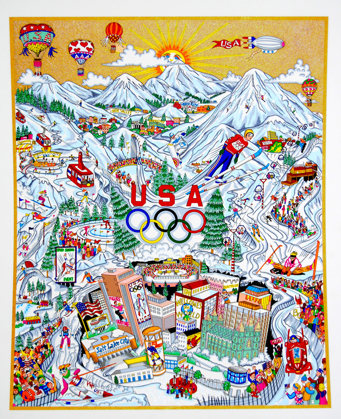 Pop Art piece done by Official Olympic Artist Charles Fazzino - Olympic Games, 2000, Salt Lake City, USA