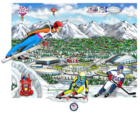 Pop Art Piece done by Charles Fazzino of the Olympic Games, 2014, Sochi, Russia