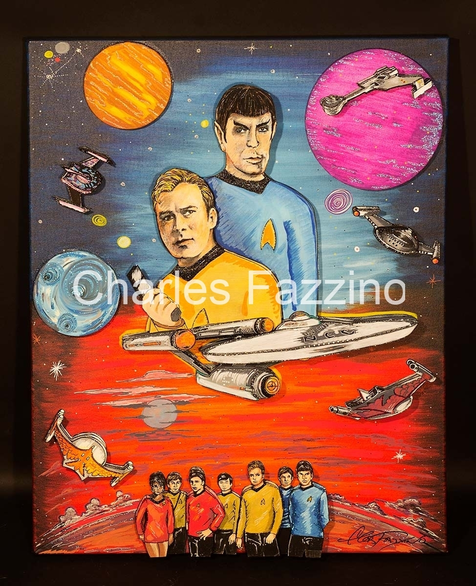 Artwork featuring Captain Kirk and Spock floating in space with planets, along with the USS Enterprise and its crew