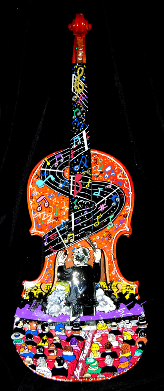 Charles Fazzino 3d pop art violin for Westchester Philharmonic