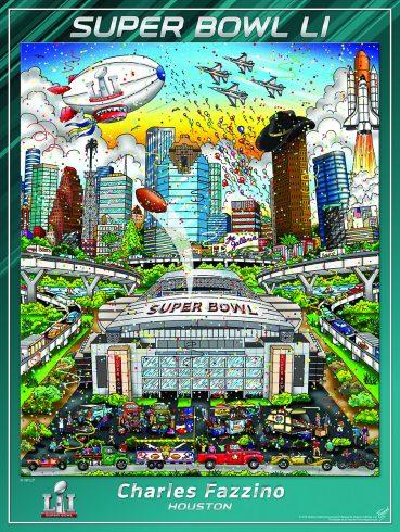 Charles Fazzino's Super Bowl LI Pop Art Poster, 2017