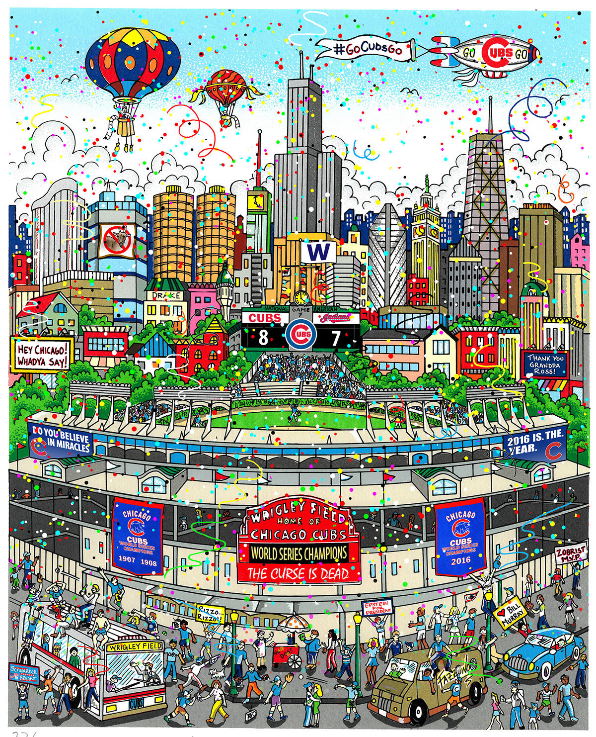 A poster featuring Wrigley Field in Chicago, celebrating the Cubs winning the World Series