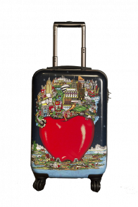 "The Fazzino 22"" carry on luggage featuring The Big Apple and NYC landmarks on the case"