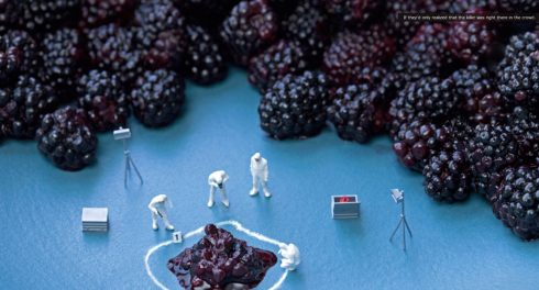 ChristopherBoffoli's photograph of three toy men dressed in white suits analyzing a crime scene where a blackberry got crushed