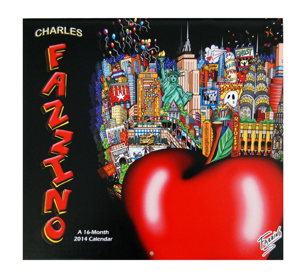 Image of the cover of the Fazzino 2014 calendar, featuring the big apple pop art