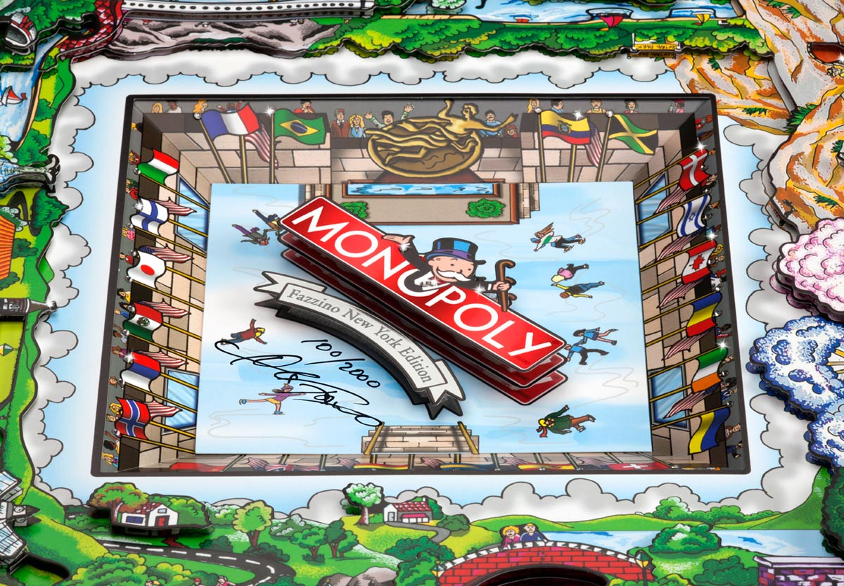 Close up view of a Fazzino Monopoly board