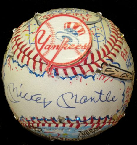 Hand-Painted Baseball Autographed by Mickey Mantle