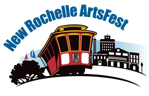 Image of the logo of New Rochelle ArtsFest, which is a red trolly train driving passed the buildings of the city.
