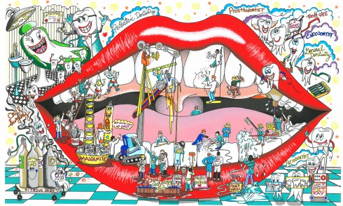 Image of a Fazzino art new release called Mouth Under Construction, its an image of a mouth and little dentist people cleaning the teeth