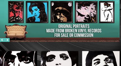 Screen shot from Greg Frederick website that shows some examples of his vinyl art