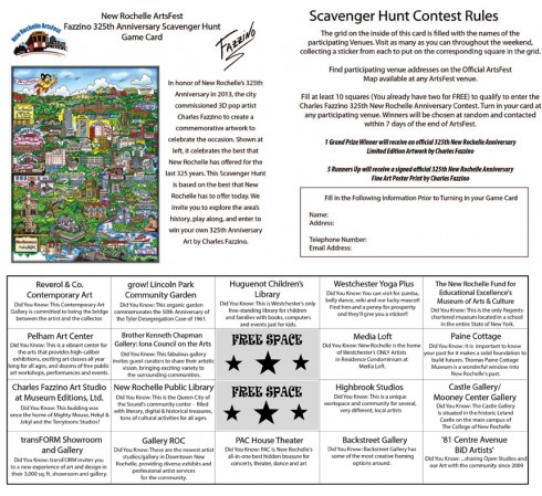 Image of Fazzino's Scavenger hunt card that participants will have to fill out in order to win