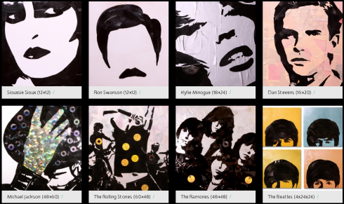 Image of sic of Greg Fredrick's pop art vinyl art with several pop culture music icons, like the Beatles, the Rolling Stones, and Michael Jackson