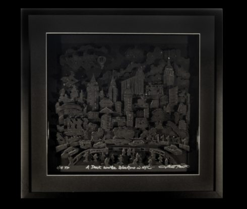 Charles Fazzino newest pop art release of New York City done Monochromatic in all different shades of black