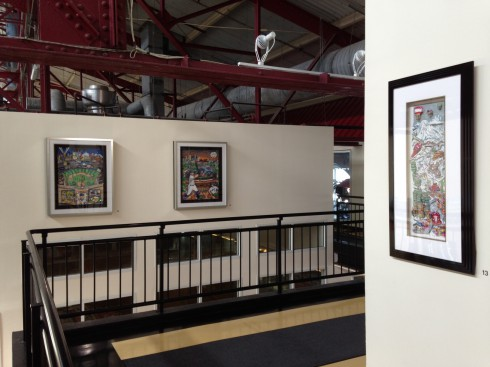 Photo of one of the hallways at Chelsea Piers where Fazzino sports artwork is framed and hanging on the walls