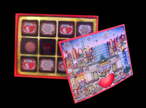 Image of a 2|Beans box of chocolate with the packaging and chocolate styled in Charles Fazzino's Pop Art