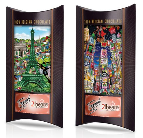 Image of two 2 Beans chocolate bars with package that has cityscape pop are on it, one is Fazzino's Paris, the other Broadway