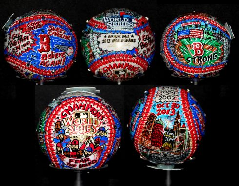 5 world series official baseballs painted with Boston red sox artwork, including Boston strong and fear the beard references
