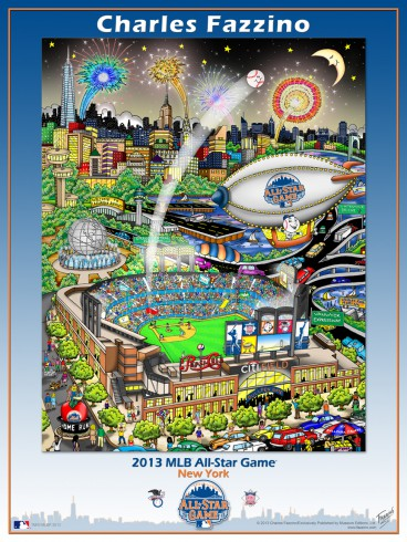 Fazzino's MLB All-Star Game Poster with the Citi-field stadium