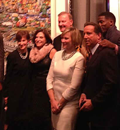 Image from the Super Bowl artwork unveiling at the Holiday House NYC with Fazzino, Biblowit, Danker, Tisch, Beck and Rolle