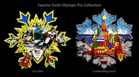"Oversized, 3-D collectors pins that say ""Go USA"" and ""Celebrating Sochi"", 4"" in diameter, constructed in three-layers, and comes in a felt-lined collectors case"