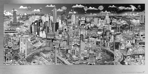 The black and white version of Charles Fazzino's Illusions of New York aluminum artwork collection