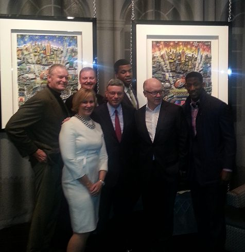 Oates, Fazzino, Coples, Tisch, Kelly, Johnson, Rolle posing for a picture in front of the 2014 Super Bowl artwork