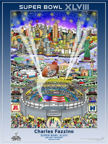 Fazzino 3D poster design of Super Bowl XLVIII at the New York/New Jersey stadium