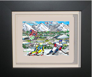 Image of a framed Fazzino Sochi Olympic Mini, with olymic athletes in uniforms doing their sports