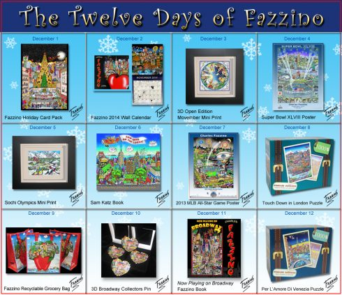 The full calendar of the Twelve Days of Fazzino with all of the featured gifts highlighted