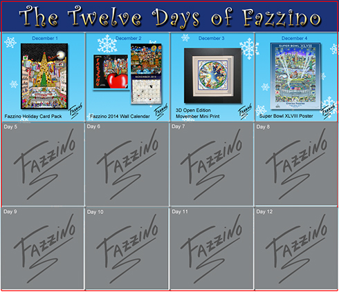 Calendar of the 12 days of Fazzino with days 1 through 4 highlighted and showing off their discounted prizes