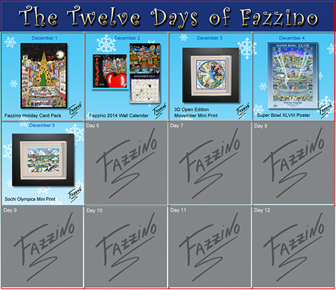 Calendar of the twelve days of fazzino with days 1 through 5 highlighted with their featured gifts