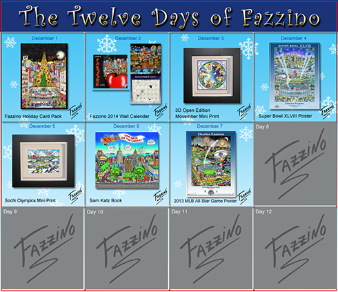 The Calendar of Twelve Day of Fazzino with days 1 through 7 highlighted with their featured gifts